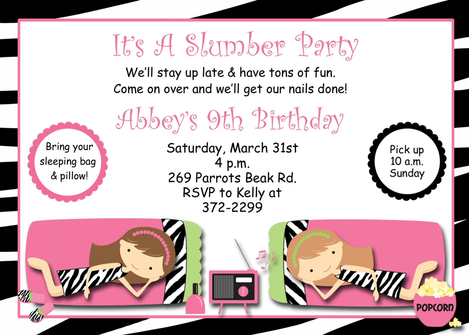 Impeccable image inside printable slumber party invitations