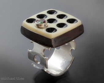 Domino Effect Ring: Fabricated Sterling Silver, Topaz and Vintage Domino, Size 9