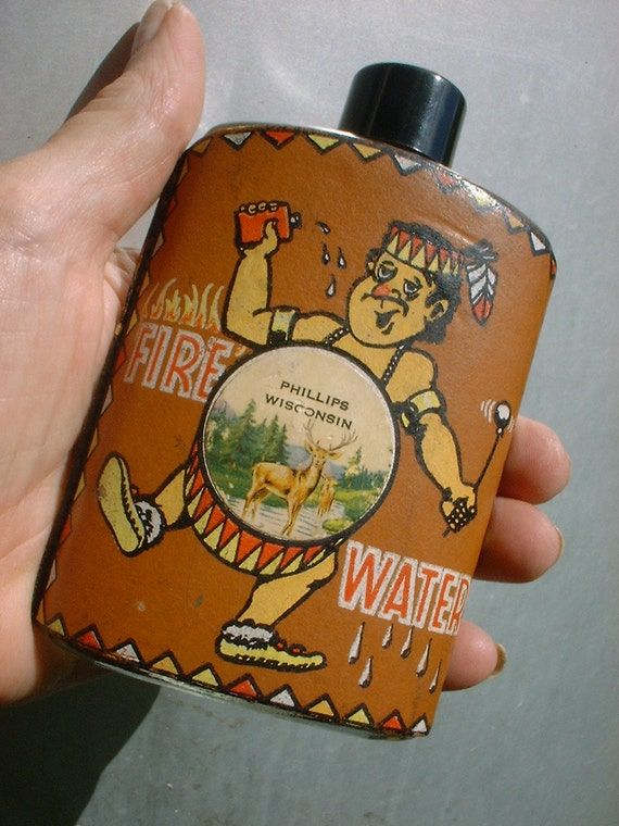 """RARE Vintage Collectible """"Fire Water"""" Bottle RUDE Indian Characature Memorabilia"""