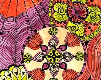 "FINE ART PRINT Chakras orange yellow magenta 5""x7"" reproduction"