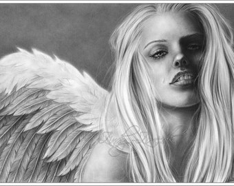 Shelter Me Crying Angel Art Print Glossy Emo Girl Fantasy Zindy Nielsen