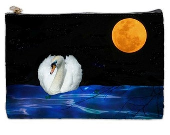 White Swan, Cosmetic Bag, white swan makeup bag, full moon, blue cosmetic bag, gift idea, zipperd pouch, bags and purses, zippered pouch