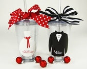 Christmas Party Personalized 20 oz. Tumblers His and Her Wedding Party Holiday Tumblers with Name
