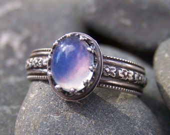 Avalon - 6 x 8mm Smooth Oval Opal in Sterling Crown Bezel and Wide Flower Band