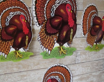 Vintage Thanksgiving Turkey Cut Outs Adorable 1970s