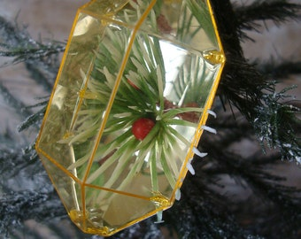 Vintage Jewel Brite  Reflected Flower Poinsettia Christmas Plastic Christmas Ornament