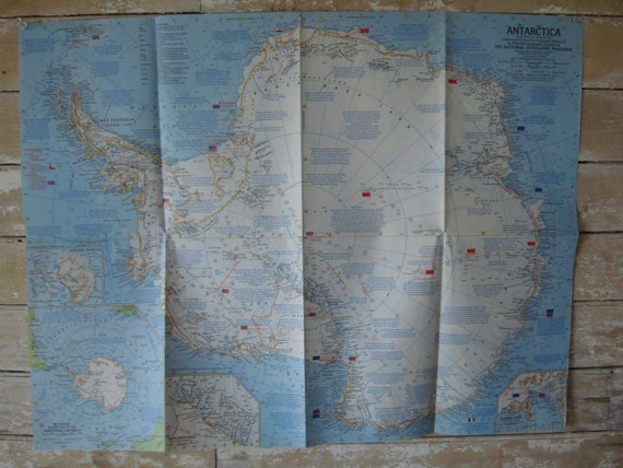 Vintage Antarctic Large Map 1963 Retro Find