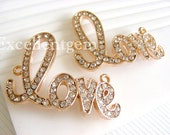 Love- 5 -Sideway bracelet connector in Rose gold tone with Rhinestones