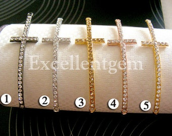 100pcs New shape,Metal with Crystal Sideways Cross Bracelet Connector in 7 colors- SHIPPING FROM US