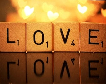Art, Photography, POP, Scrabble Love Art, Love, Romantic, Newly Wed Gift, Bokeh Photography, House Warming Gift, Ready To Ship