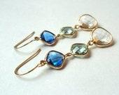 Blue green clear glass long three stone dangle earrings.  Capri Blue.  Prasiolite.  Elegant.  Bridal. Bridesmaids.  Wedding.