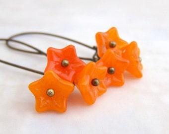 Tangerine Earrings - Czech glass flower beads in orange - Tangerine Tango Jewelry