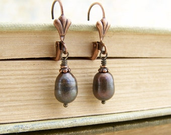 Brown Pearl Earrings with Copper - Copper Pearl Earrings - dark brown jewelry with a Victorian feel