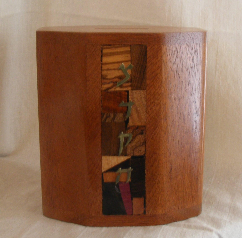 Tzedakah Box Mosaic Wood Jewish Charity Box Judaica Sale