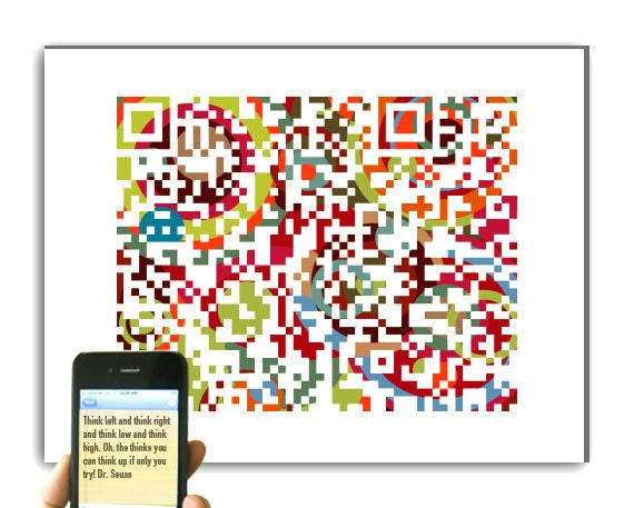 Back to School - Inspirational, motivational saying art - Dr. Seuss quote or personalized message - QR code 13x16 Giclee print