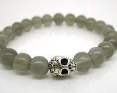 Mala Bracelet, Goth Chick, Skull Bracelet - Moonstone, Spiritual Jewellery