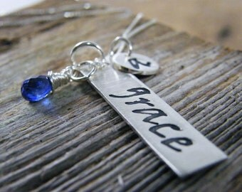 grace pendant hand stamped sterling silver necklace with personalized inital tag