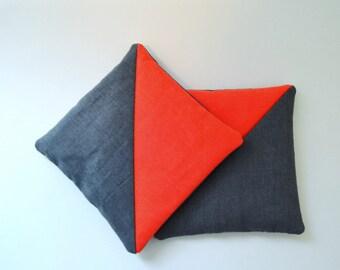 modern lavender sachets neon orange and slate grey - minimal lavender sachets - housewarming gift - lavender pillow - gift for her