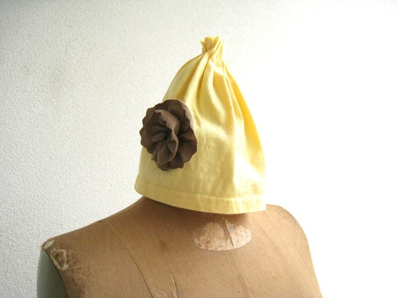 T Shirt Hat  Pull On / Yellow / Brown / Recycled / Upcycled / Cotton / Soft / Girls / Winter / Eco Friendly / Lightweight / ohzie