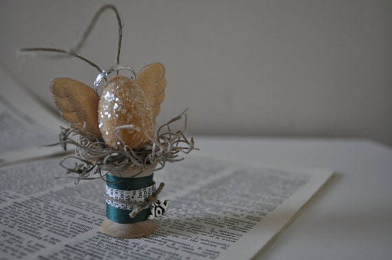 Upcycled Vintage Teal and Yellow Spool Angel Ornament Made with Vintage Paper Ephemera, Twine, and Glitter