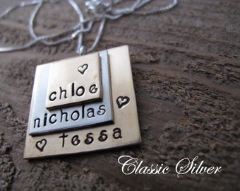 Triple Stack Squares Family Keepsake Pendant - Great Gift for Mom and Grandma