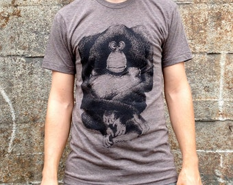 Orangutan Monkey T-shirt, Men's / Unisex American Apparel Heather Coffee Brown Tri-Blend Tee