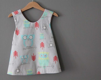 NEW owl pinafore top  ready to ship grey gray red aqua (only3  left)