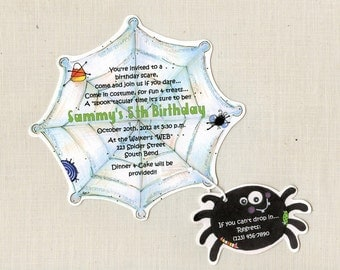 Personalized - Handcut - Halloween - Invitations - Spider Web - Happy Birthday - Party Invitations - Halloween Birthday - Set of 40