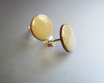 Beige post earrings Small enamel stud earrings Minimalist enamel jewelry