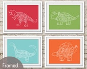 Dinosaur Butcher Diagram Series - Set of 4 Art Prints (Featured in Barberry Red, Grass Green, Happy Blue and Crimson Orange)