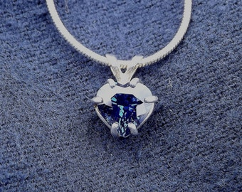 Ocean Love - Sapphire Heart and Silver Pendant