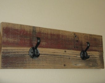 Rack, Reclaimed Cedar with Two Bronze Hooks
