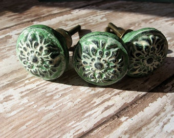 2 Bohemian Verdi Green and White Knobs Spanish Flair Hardware B-7