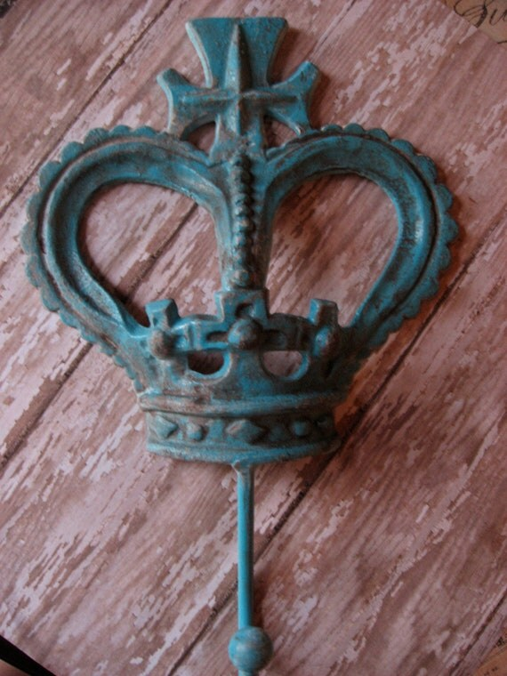 Large Turquoise Blue Aged Royal Crown Wall Hook Wonderful for Hanging Towels or Large Items One of A Kind