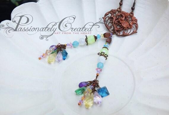 One of a kind long, vintage, pastel gemstone earrings