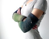 long armwarmers ombre green / blue sheer wool - crochet, jingle bell detail - fairy women winter fashion - size XS - M - Joik