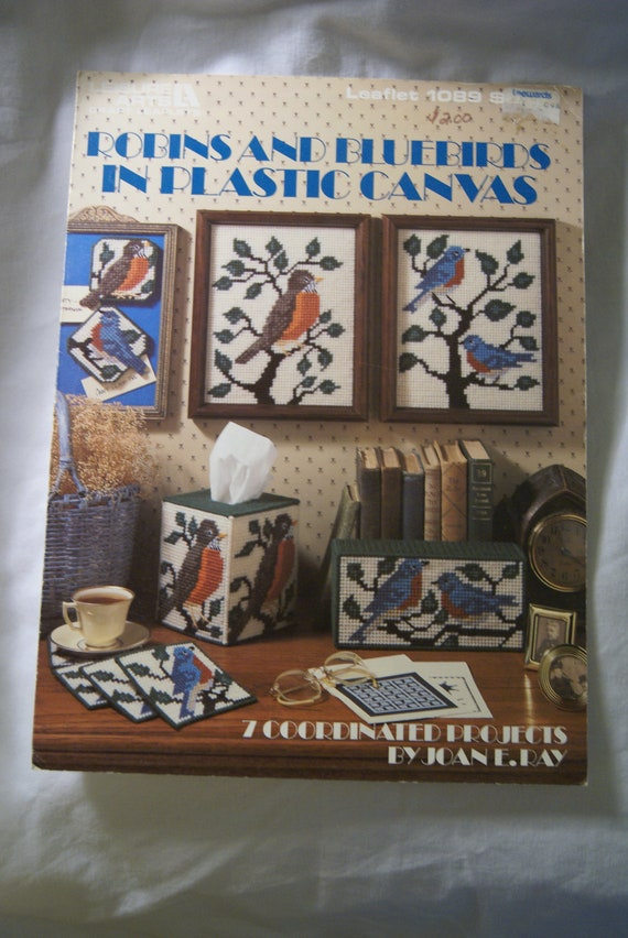Robins and Bluebirds in Plastic Canvas Leisure Arts Leaflet 1089