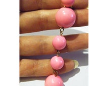 Hot Pink Earring Vintage Beads 1960s Antique Gogo 60s Assymetrical