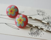 Flower Power Pink and Blue Daisy Fabric Covered Bobby Pin Set - Set of 2 Pins