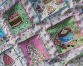 Baby girl/toddler quilt, puffed squares, pink blue green yellow white, soft flannel back