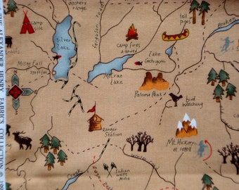 SALE : Eagle Peak Trail Map Alexander Henry tan fabric FQ or more