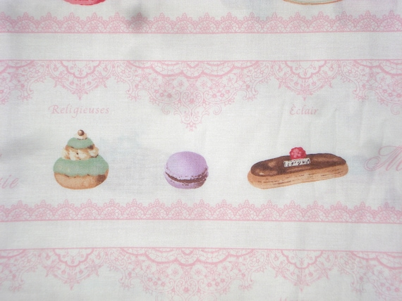 Yuwa Live Life Desserts Lace stripe pink fabric FQ or more