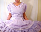Vintage Square Dance Dress 1960s Full Circle Skirt Western Lavender Ruffle Tiered Party Dress