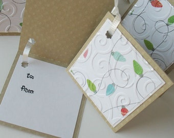 Christmas Gift Tags: Five Pack Set / Flip Open & Handmade - Hanging the Lights