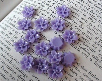 8 Small Purple Resin Flower Cabochons 12mm