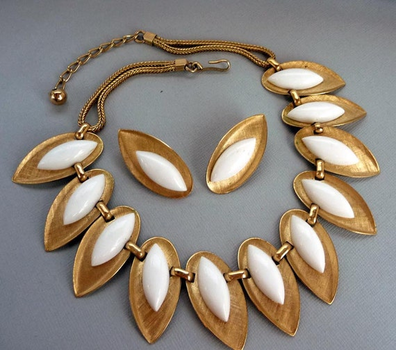 White & Gold tone Necklace and Earring Set by Napier