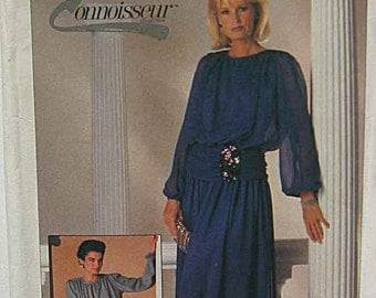 RARE Vintage 80's Misses' Dress in 2 Lengths, Evening Gown, Connoisseur Collection Simplicity 7211 Sewing Pattern UNCUT, Size 20