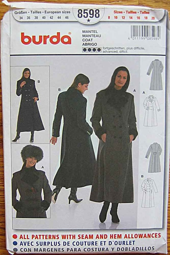 RARE Misses', Women's Double Breasted Winter Coat, Burda 8598 Pattern UNCUT Sizes 8-20