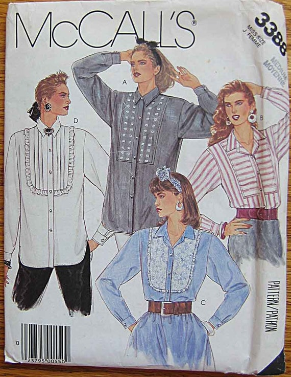 RARE Vintage 80's Misses' Shirts with Bib Variations, Pleated, Lace, Ruffle, McCall's 3388 Pattern UNCUT, Size Medium 14-16