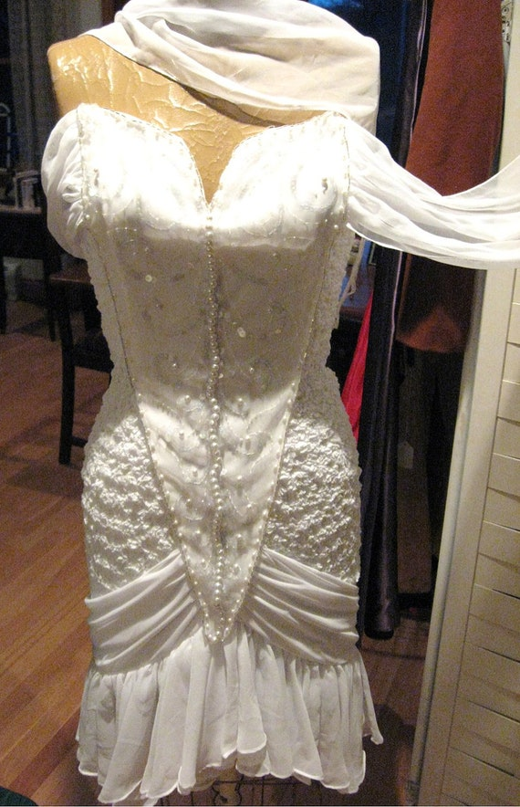 White cocktail dress beaded wiggle dress charro for for Oxiclean wedding dress